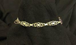 Antique Vtg Art Deco 12k GF Gold Filled Fancy Link Chain Purple Stone Bracelet image 4