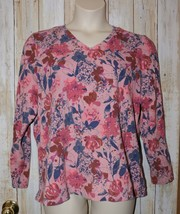 Womens Pretty Pink Floral d&co Long Sleeve Shirt Size XL very good - $5.93