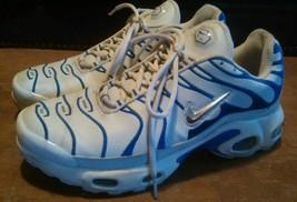 Nike Air TN Running Shoe Women's Sneakers Size 8 1/2 White Blue Stripes - $22.60