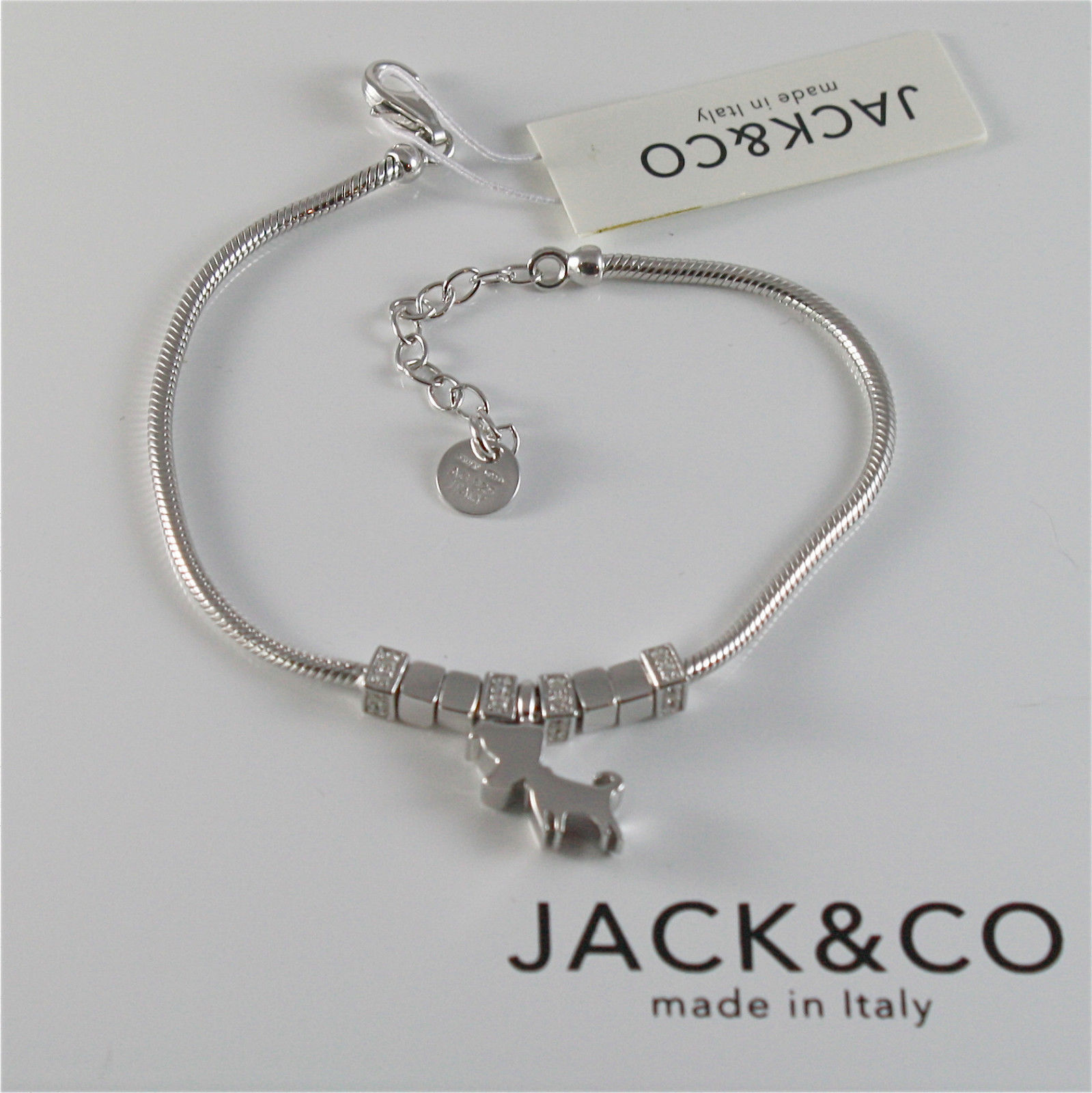 925 RHODIUM SILVER JACK&CO BRACELET WITH JACK RUSSEL TERRIER DOG  MADE IN ITALY