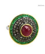 Emerald/Pink Tourmaline Gemstone Pave Diamond Sterling Silver Ring Women... - $224.40