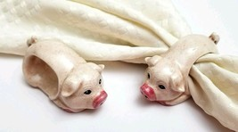 Set of 2 Ceramic Pinkish Pigs Napkin Rings Farm Countryside Animal Napki... - $8.86