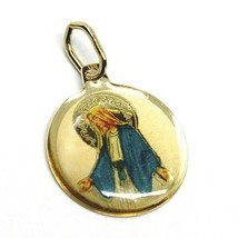 SOLID 18K YELLOW ROUND GOLD MEDAL, VIRGIN MARY 15mm, MIRACULOUS, ENAMEL - $103.00