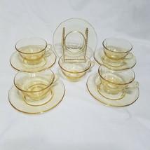 Vintage Fostoria Topaz Fairfax Cups and Saucers, Set of 5 (circa 1927-1944) - $40.50