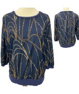 Jennifer Lopez women's blouse 3/4 sleeve blue chai size L - $13.85