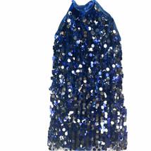Weissman Blue Silver Sequin Halter Romper Dress Dance Wear Costume Metal... - $18.66