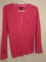 TOMMY HILLFIGER Pink Cotton Henley Top, Shirt, Tee Blouse, Pullover L Large - $14.50