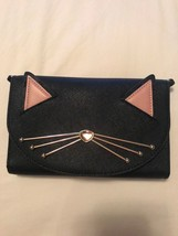 New Kate Spade Winni Jazz Things Up Cat Black Leather Clutch Crossbody Bag - $129.94