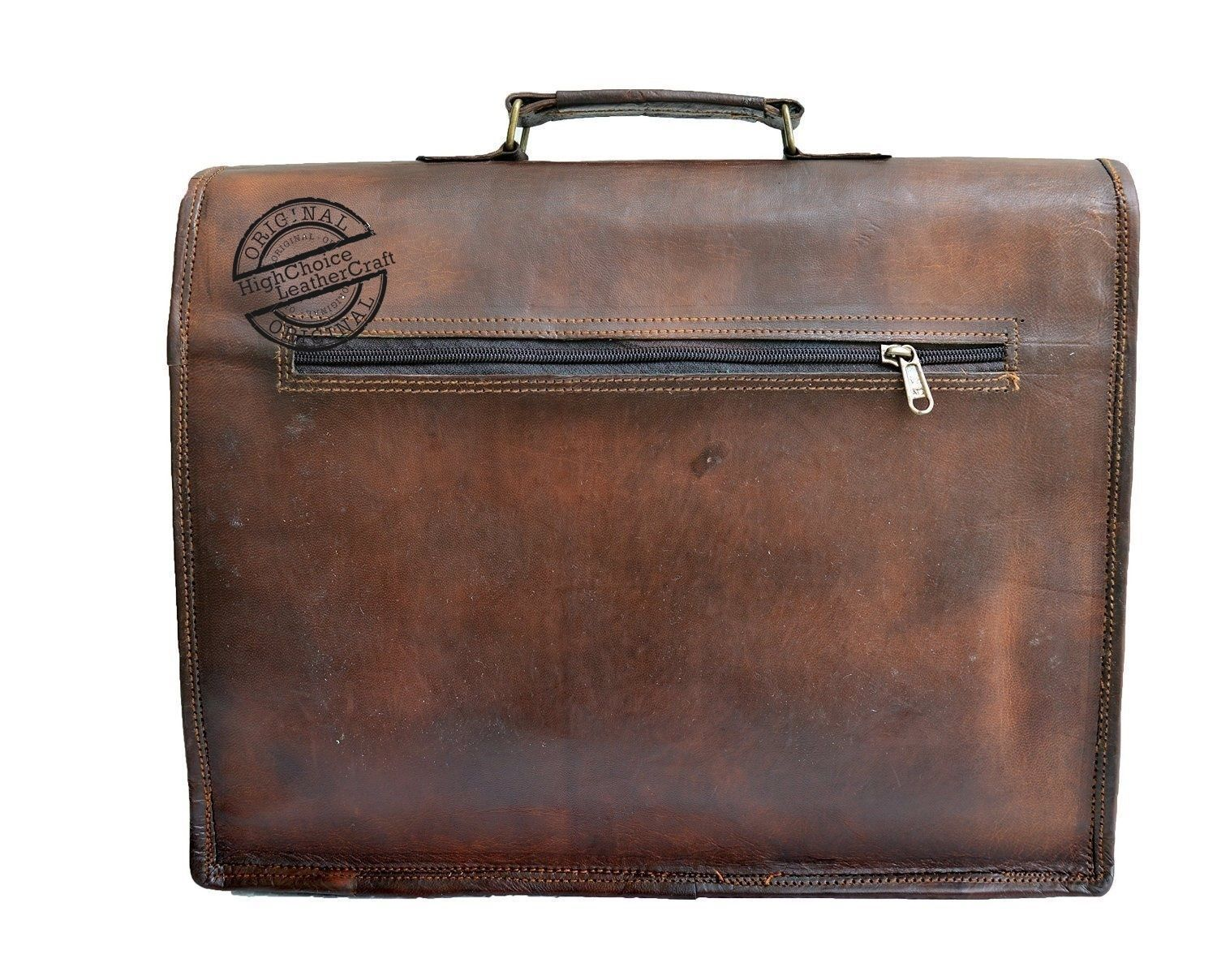 Men's New Genuine Vintage Brown Leather Messenger Shoulder Laptop Bag Briefcase image 5