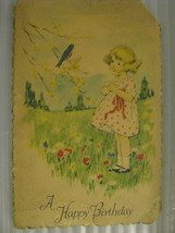 Postcard A Happy Birthday 1920 or 1930's vtg signed - $4.93