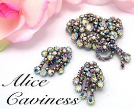 Vintage Brooch Earrings ALICE CAVINESS Floral Rhinestone Set AB & Faux P... - $275.00