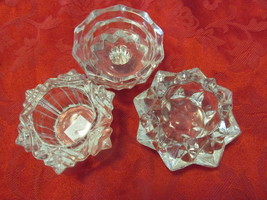 Set Of Three Candle Holders Heavy Crystal - $12.99