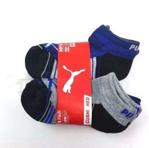Puma 6 Pair Low Cut Cushioned Boys Socks, Gray/Black/Blue (Sock 7-8.5 Shoe 9-3.5 - $14.99