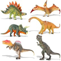 QuadPro Dinosaur Toys Sets for Kids, 6 Piece Jumbo Plastic Dinosaurs Figures Inc
