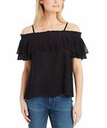 Jessica Simpson Blouse Black Crinkle Ruffle Cold Shoulder Top Womens Size S - $58.91