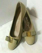 "Sz 6 AA Salvatore Ferragamo Boutique Vara Bow 1"" Heel Shoes Green Nubuck... - $45.00"