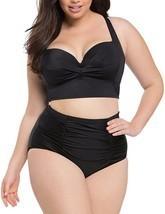 AMZ PLUS Women Ruched Vintage Plus Size Bikini Set High Waist Swimsuit B... - £15.82 GBP