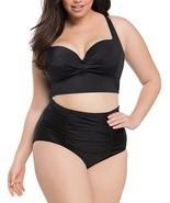 AMZ PLUS Women Ruched Vintage Plus Size Bikini Set High Waist Swimsuit B... - $22.09