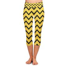 Hufflepuff House Chevrons Yoga Capri Leggings - $32.99+