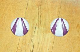 vintage round purple stripe pierced earrings striped - $4.94