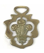 Vintage Brass Horse Harness Medallion Bridle Ornament Prince Of Wales Fe... - $33.25