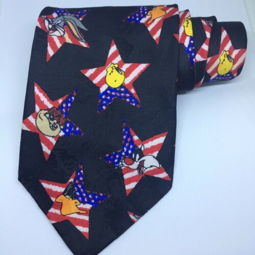 Primary image for Vintage Looney Tunes Mania American Flag Taz Daffy Tweety Bugs Men's Necktie 60""