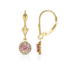 1.25CTW Round Halo Pink Sapphire Drop Dangle Leverback Earrings 14K Yell... - $114.82