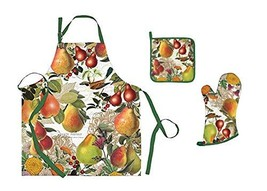 Chef Set for Adults - Apron of Pears Flowers Wren Bird with Oven Mitt Po... - $70.38