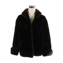 Brown fur thick long sleeve open front waist length vintage coat M - $89.99