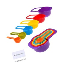 Set of 6 Measuring Cups and Spoons - Space Saving Design - Colorful - In... - £11.75 GBP