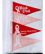 Four 6 X 10 Baby Pink and Hot Pink Cancer Awareness Pennant Flags - $12.00