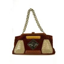 Bottega Veneta Limited Edition Velvet Burgundy Intrecciato Chain Handle Bag - $1,435.50