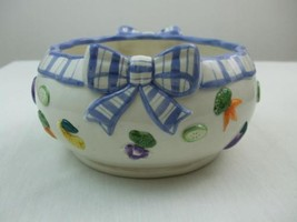 Fitz and Floyd Large Round Porcelain Bowl Blue Ribbon Vegetable Design 7... - $19.26
