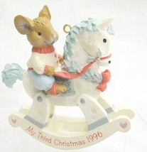 My Third 3rd Christmas 1996 Ornament Mouse on Rocking Horse American Gre... - $11.87