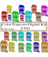 Color Popcorn Digital Kit 3-Digtial Paper-Food-Art ClipJewelry-T shirt-N... - $3.99