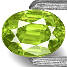INDIA Sphene 0.42 Cts Natural Untreated Bright Neon Green Oval - $212.00