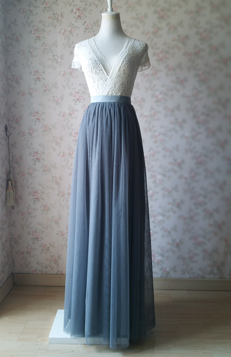 Dark gray wedding maxi tulle skirt 6
