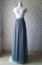 DARK GRAY Wedding Bridesmaid Tulle Skirt High Waist Gray Full Maxi Tulle Skirt image 1