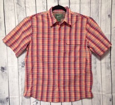 Woolrich Camp Shirt Button Down Vented Mens L Plaid Nylon Utility S/S Fish - $298,94 MXN