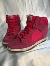 RARE Nike Dunk Sky Hi Sneaker Hidden Wedge Hyper Pink Suede Sz 10 579763... - $55.00