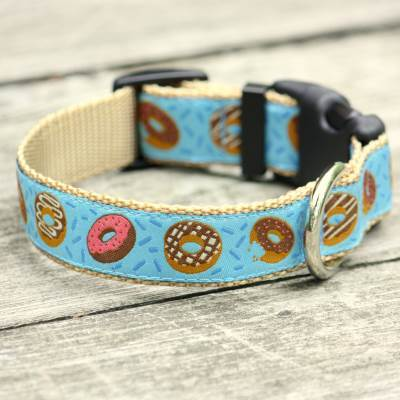 Donuts for Him Jacquard Adjustable Dog Collar / Made in Japan