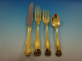 King by Kirk Sterling Silver Flatware Service 8 Set Gold Vermeil Shell M... - $2,795.00