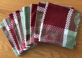 6 Woven Dinner Napkins Country Roosters Checkerboard Autumn Thanksgiving... - $18.13