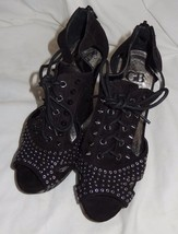 Gianni Bini Black Suede Leather Spiked Studded Open Toe Wedge Heels Size... - $31.00