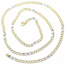 18K YELLOW WHITE GOLD CHAIN 3 MM, 19.7 INCHES, ALTERNATE GOURMETTE AND SQUARE image 1