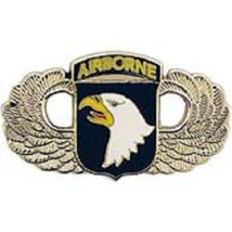 US Army 101st Airborne Wing Silver Badge Pin  - $7.91