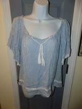 American Eagle Blue/White Stripe Gauzy Peasant Blouse Size M Women's EUC - $20.00
