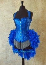 Pick Size-Royal Blue Scattered Crystal Pin Up Showgirl Saloon Girl Can C... - $149.99