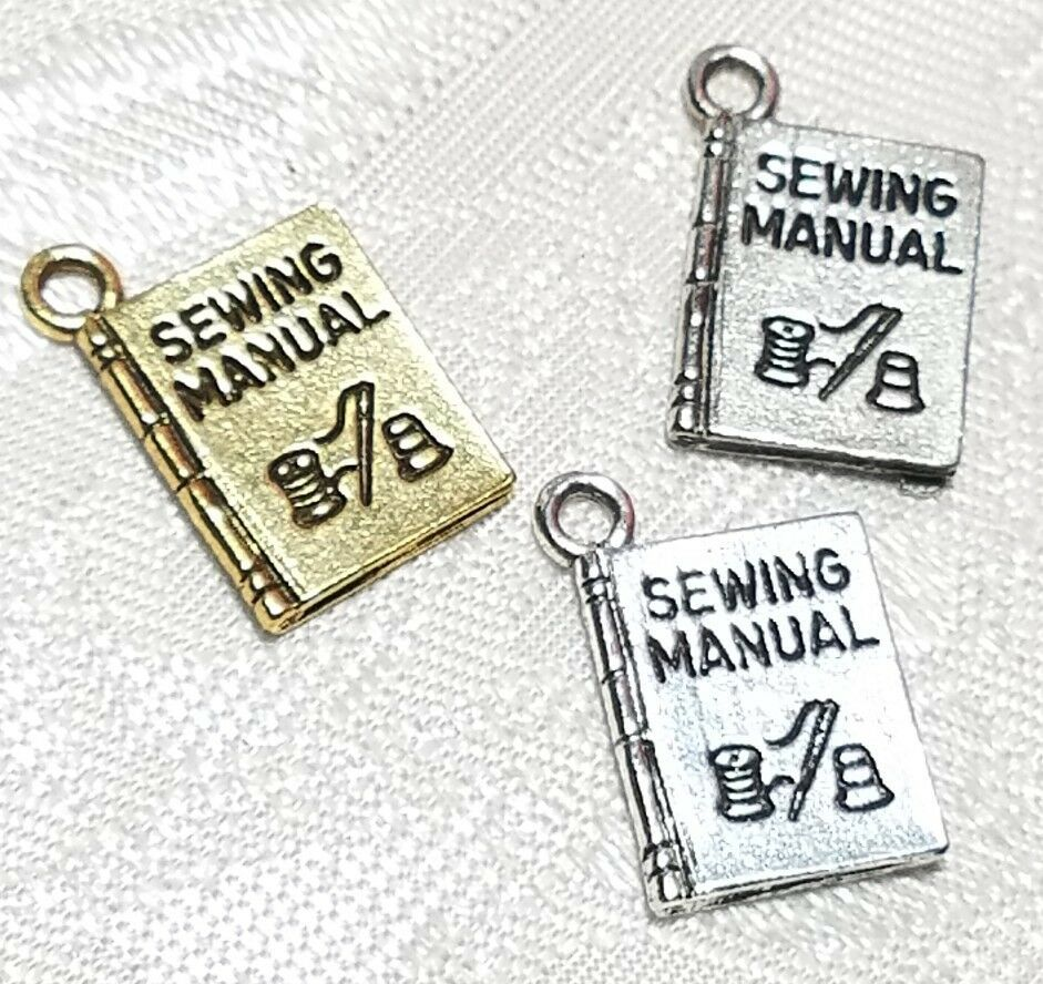 SEWING MANUAL FINE PEWTER PENDANT CHARM - 12x17x2mm