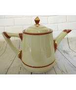 "Vintage Red Cream Gold Tone Ceramic Musical Teapot 7""x10"" Plays Tea for Two - $22.98"